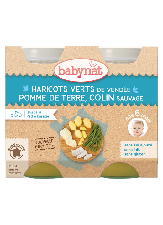 Babybio denní menu brambory a zelené fazolky s aljašskou treskou