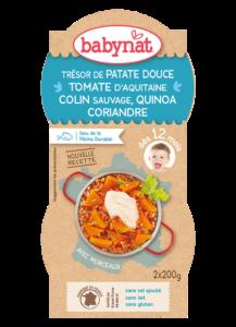 Denní menu příkrm sladké brambory s rajčatovým pyré, aljašskou treskou a quinoa