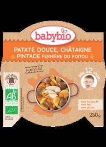 Denní menu příkrm sladké brambory s kaštanovým pyré a farmářskou perličkou