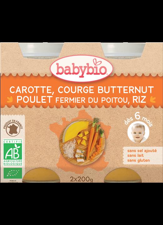 Denní menu příkrm mrkev s máslovou dýní, kuřetem a rýží