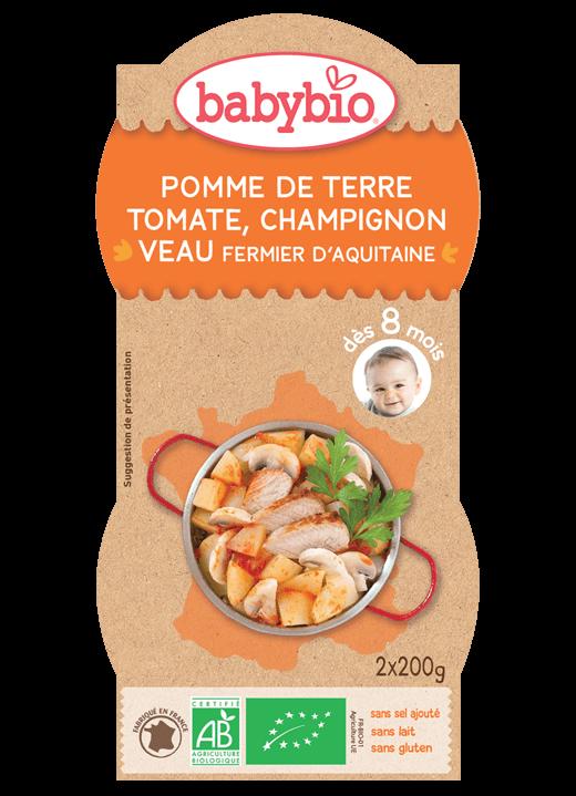 Denní menu příkrm brambory s rajčatovým pyré, žampióny a telecím masem