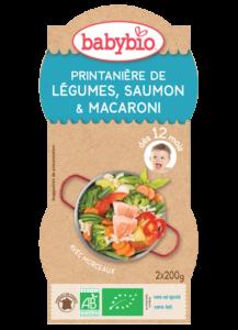 Denní menu příkrm jarní zelenina s lososem a makarony