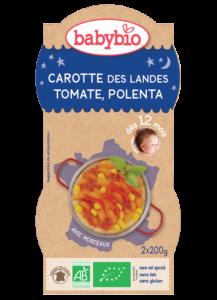 Večerní menu příkrm mrkev s rajčatovým pyré, sladkou kukuřicí a polentou
